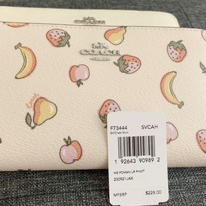 Coach Large Phone Wallet With Mixed Fruit Print